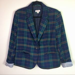 Merona Green/Navy Plaid Wool Blend Blazer